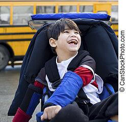 Incapacitado, cinco, ano, antigas, Menino, Cadeira rodas,...