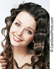 Pretty smile of young fresh woman beauty makeup and hair -...