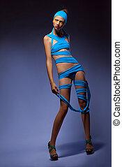 blu, donna, berretto, Creativo, moda, proposta,  trendy, vestiti