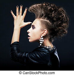Beauty woman with pigtails, creative hairstyle, saluting -...
