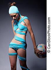 bello, concetto,  balloon,  -, Creativo, donna, moda