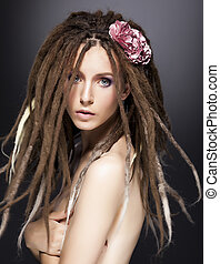 Creative fashion woman mod, dreads - beauty glamour...