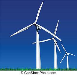 Wind Generators. Vector - Wind Generators over sky with...