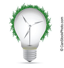 Windmill eco lightbulb illustration design