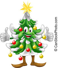 Christmas tree mascot doing thumbs - Illustration of a cute...