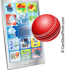 Cricket ball flying out of cell phone - Illustration of an...