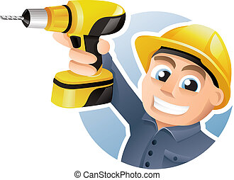 Construction worker wearing hard hat and carrying a drill