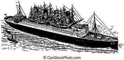 Ships at sea - Ships Sirius and RMS Aquitania at sea