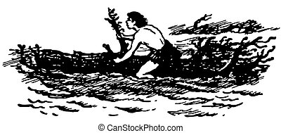 Primitive boat - Man on primitive boat at sea