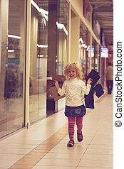 inköp, spring, År,  3, gammal, blondin, flicka
