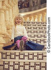 inköp, sittande, År,  3, gammal, flicka