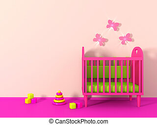 3d Girl's room in pink color and toy
