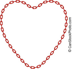 Red chain in shape of heart
