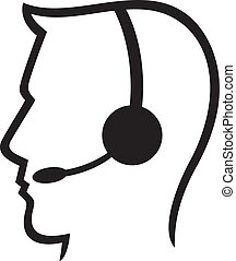 headset symbol (man headset, call c - headset symbol (man...