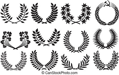 Wreath set wreath collection, laurel wreath, clover wreath,...