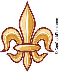 lily flower - heraldic symbol fleur de lis (element)