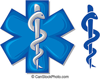 medical symbol caduceus snake with stick emblem for...