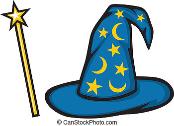 Hat of the wizard and magic stick - Hat of the wizard...