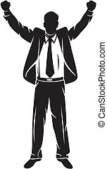 successful businessman - business man with arms up...