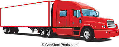 Red semi truck - Vector isolated red semi truck on white...