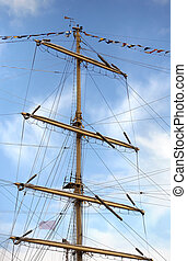 Sailing vessel - Jury masts and rope of sailing ship