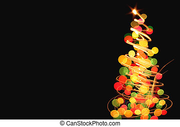 abstract color christmas lights on the black background