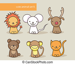 animal set - Cute cartoon animal collection
