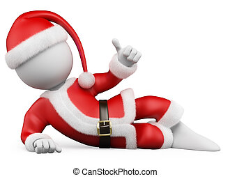 3D Christmas white people. Santa Claus lying with thumb up -...