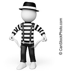 3D white people Mime showing his empty pockets - 3d white...