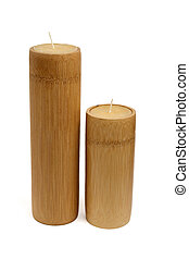 two wooden candles - two wooden unlit candles, isolated on...