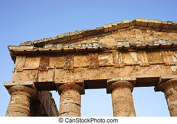 View of the fronton of the greek temple of Segesta in Sicily