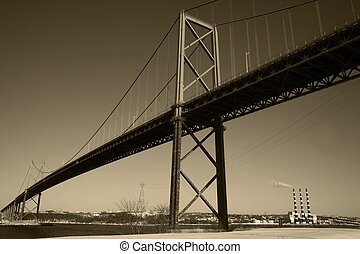 Toned Bridge - MacKay Bridge over Halifax Harbour with view...
