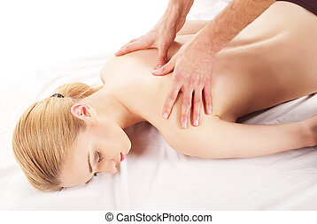 bonito, mulher, obtendo, ombro, costas, massagem