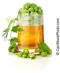 glass beer with rich and aromatic hop isolated on white...