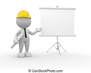 Builder - 3d people - man, person presenting at a flip-chart...
