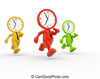 Clocks - 3d people - men, person running out of time. A...