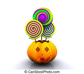3D background of halloween - pumpkin with licks licks