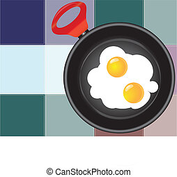 Colored squares paste with Scrambled eggs - Frying pan with...