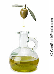 Olive oil drop fallin into a bottle
