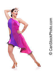 salsa dancer in beautiful pose - young woman salsa dancer in...