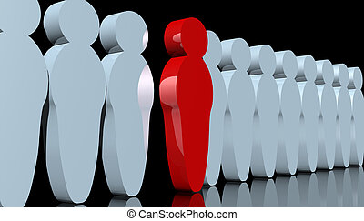 Standing out - abstract rendering of men-like pawns with one...