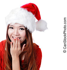 surprised Santa girl smile covering her mouth - Cute...