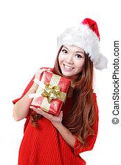Santa Woman happy holding xmas Gift
