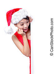 christmas young girl showing blank billboard banner sign...