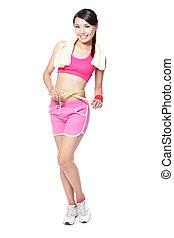 medindo, mulher, cintura, FORMA, comprimento, cheio