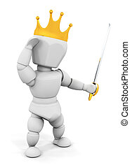 Person with crown and sword - 3D render of someone with a...