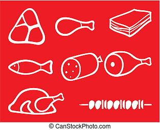 meat icons set (bacon, salami, skewers, shell, fish,...