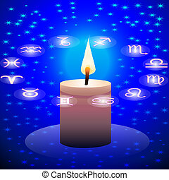night sky candle and circle of the constellation sign zodiac...