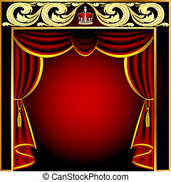 background with theatrical curtain and gold(en) pattern -...