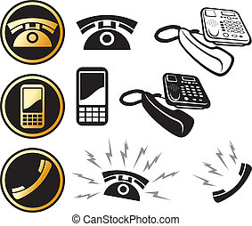 phone icon set (mobil phone button, phone and call, ringing...